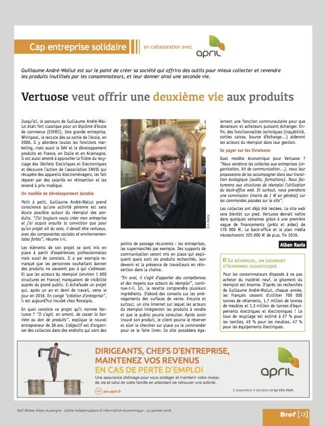 Fabulous dans le magazine Bref Rhône-Alpes édition 20 Janvier 2016